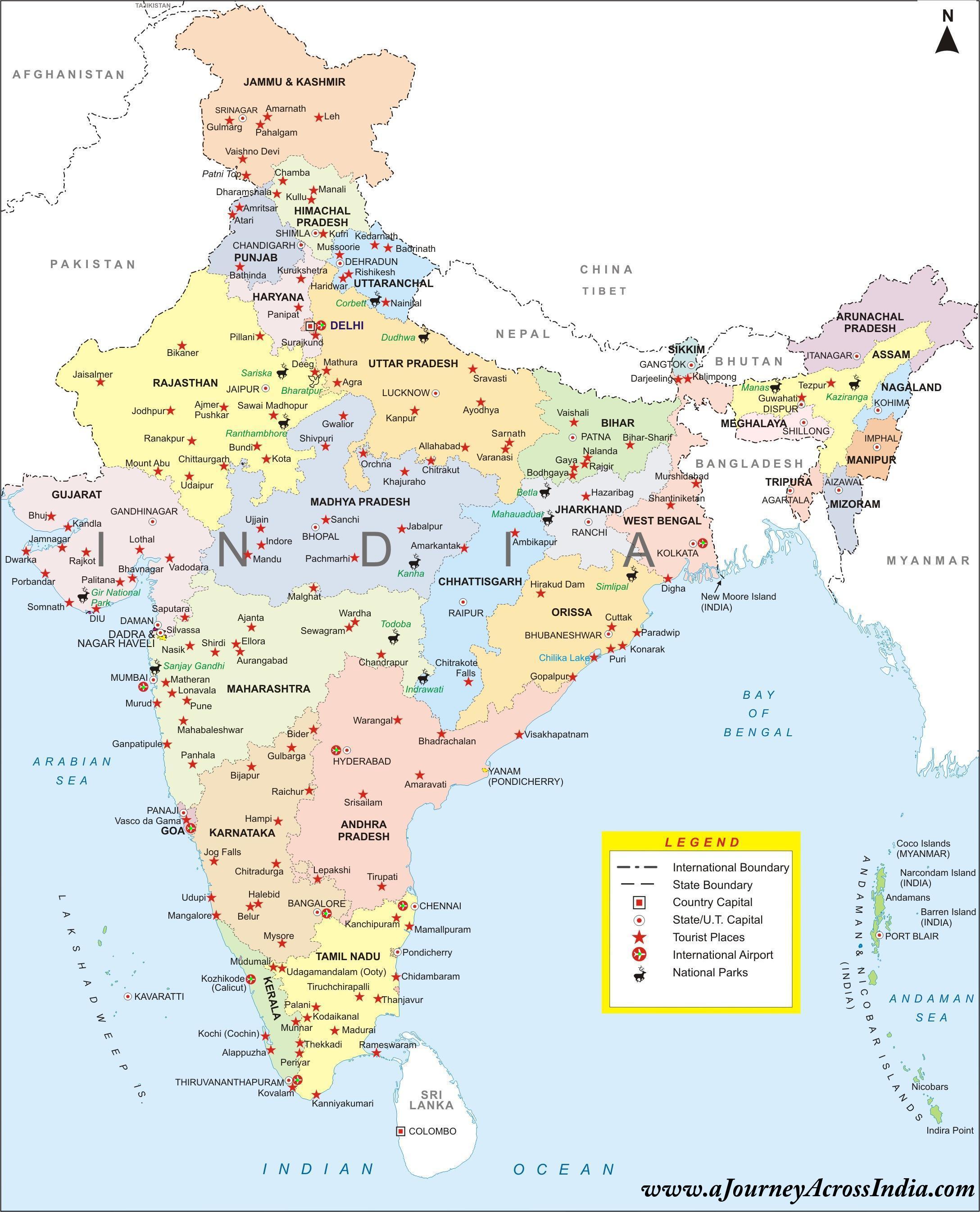 Komplet Kort Over Indien Fuld Indien Kort Det Sydlige Asien