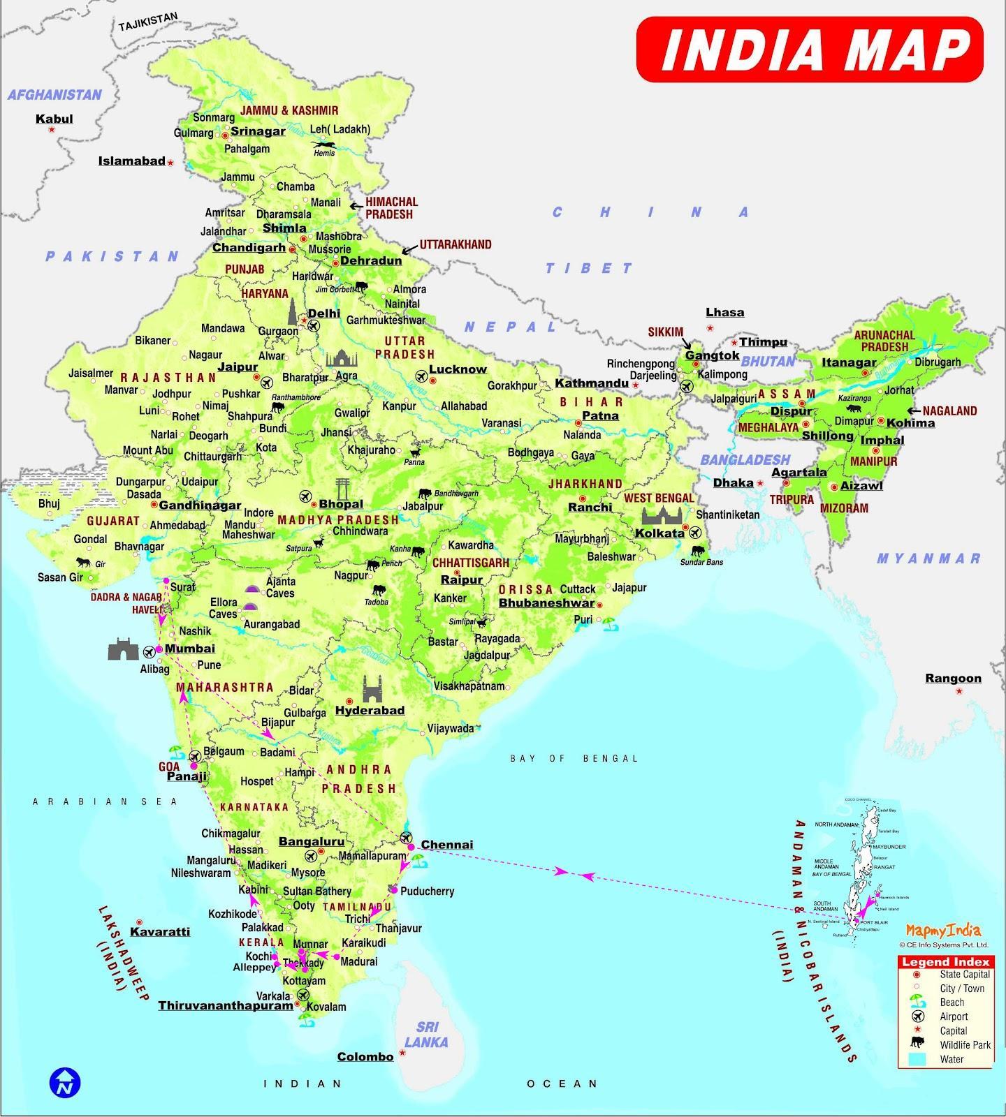 Retning Kort Over Indien Indien Kort Retning Det Sydlige Asien
