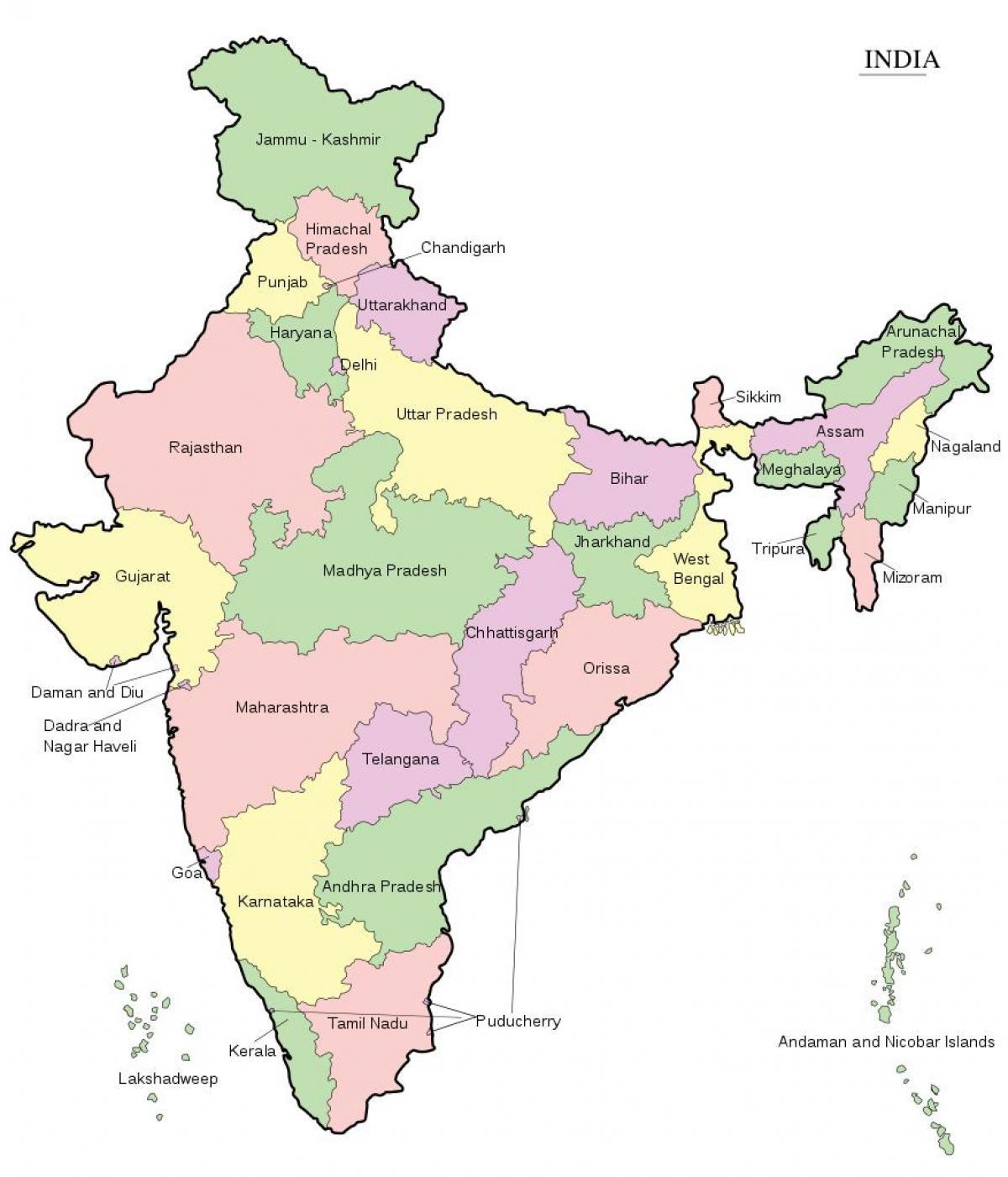 India Kort Online Indien I Kort Det Sydlige Asien Asien