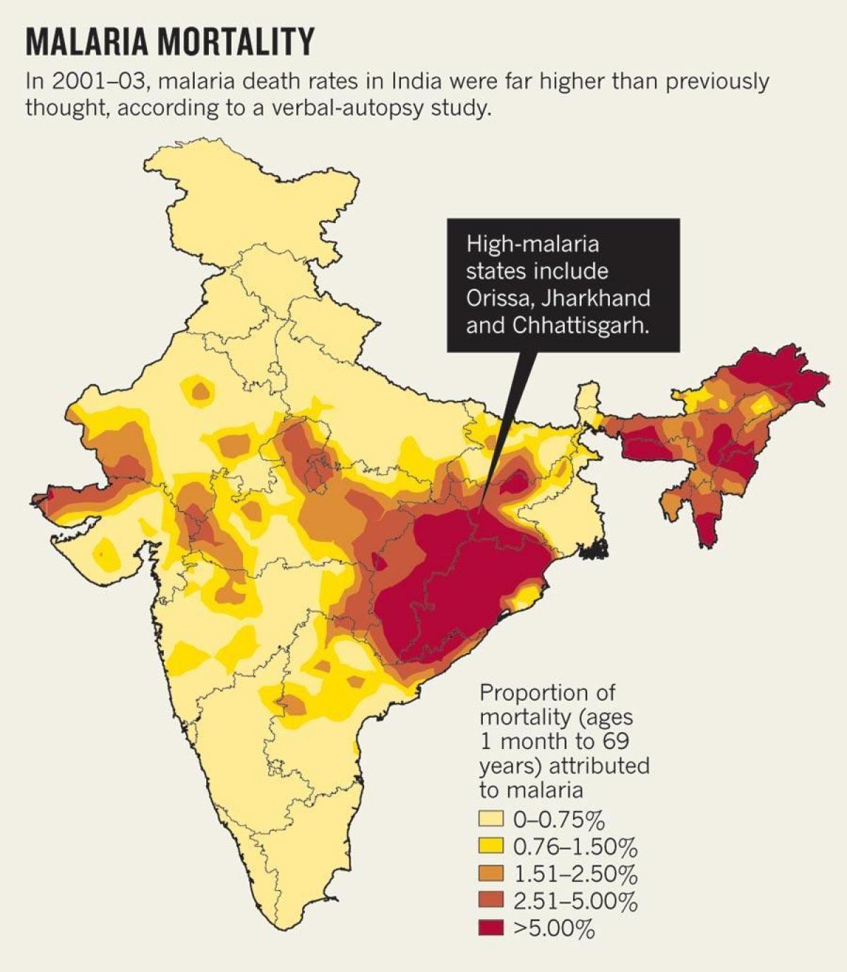 Indien Malaria Kort Kort Over Indien Malaria Sydlige Asien Asien