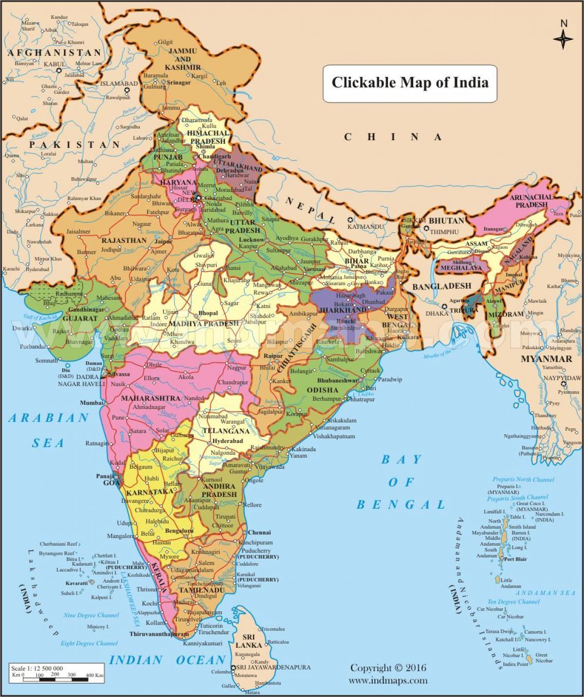 Kort Over Indien Med Stater Og Byer Indien Kort Med Stater Og