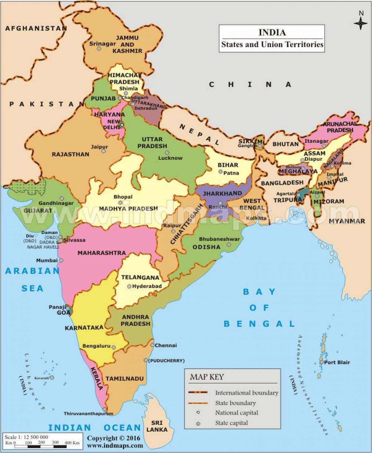 Kort Over Indiske Stater Stater I Indien Kort Det Sydlige Asien